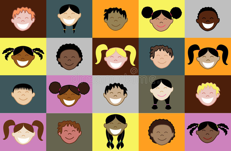 20 visages de gosses illustration stock