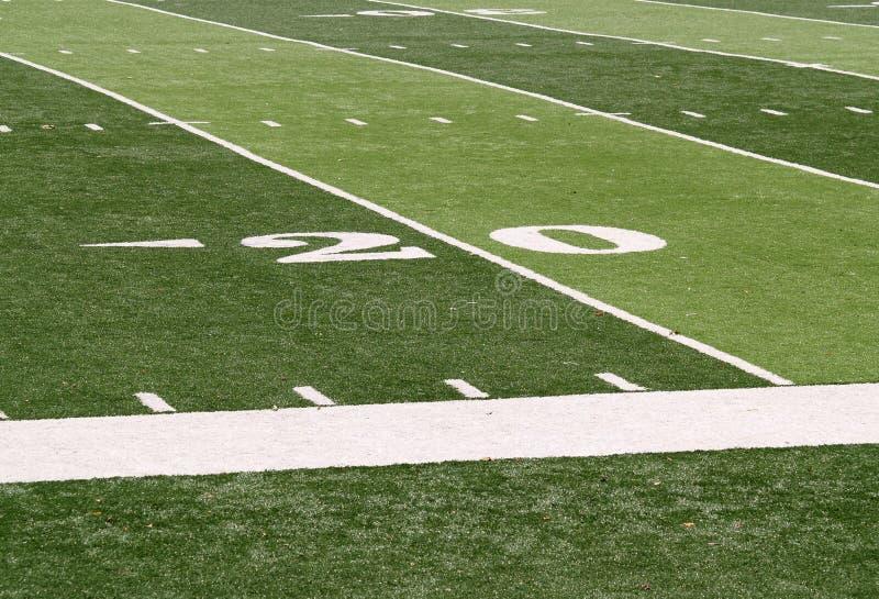 20 yard line on a footballfield royalty free stock photography