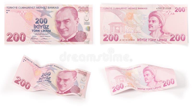 200 türkische Banknoten - Ausschnittspfad stock abbildung