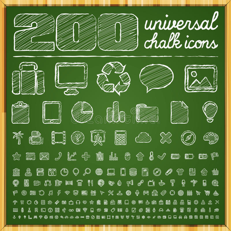 Free 200 Universal Icons In Chalk Doodle Style Stock Images - 30456464
