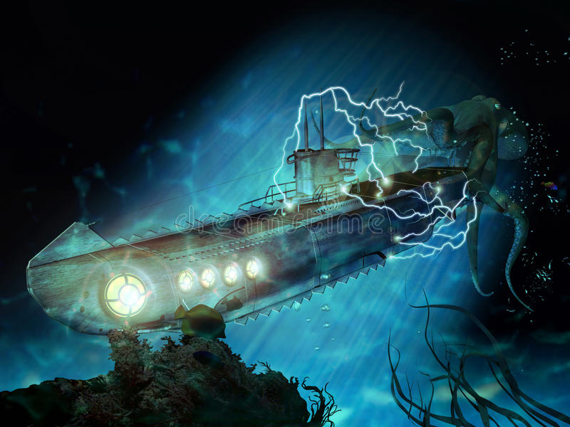 20000 leagues under the sea stock illustration
