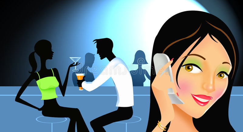 200067578-001. Woman talking on cell phone, couple have cocktails in bar vector illustration