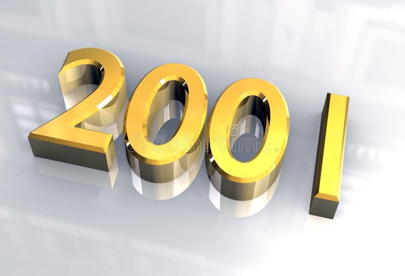 2001 3d金子新年度 向量例证