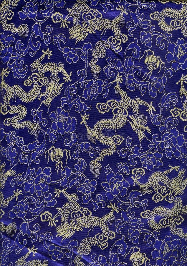 中国龙丝绸纹理 库存图片