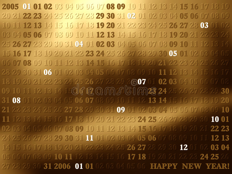 2005 kalendarza artistical ii roku ilustracja wektor