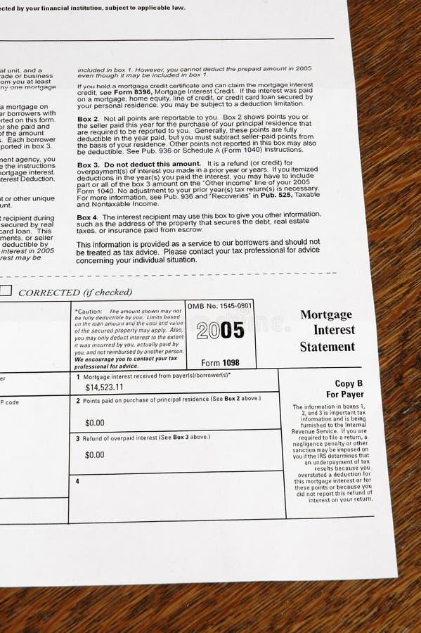 2005 Vorm 1098/1099 van de Verklaring van de Rente van de Hypotheek royalty-vrije stock afbeelding