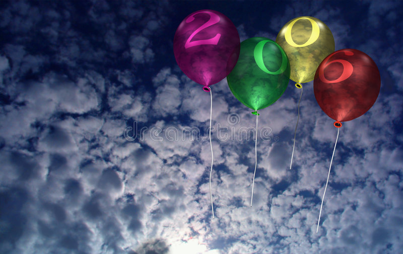 2006 neues Jahr-Ballone stock abbildung