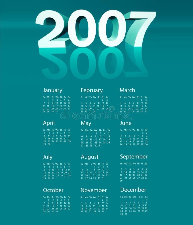 2007日历 皇族释放例证
