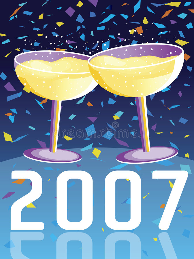 Download 2007 stock vector. Image of anniversary, cheers, confetti - 1619921