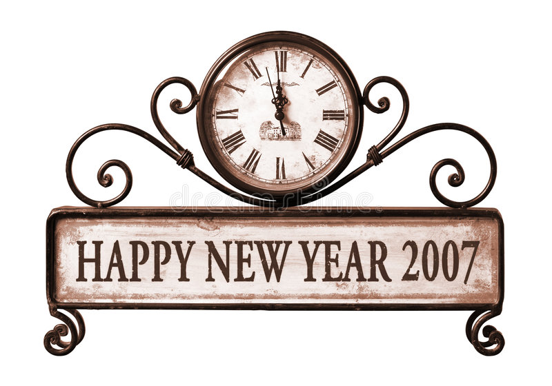 2007 anos novos felizes com o trajeto no pulso de disparo imagem de stock royalty free
