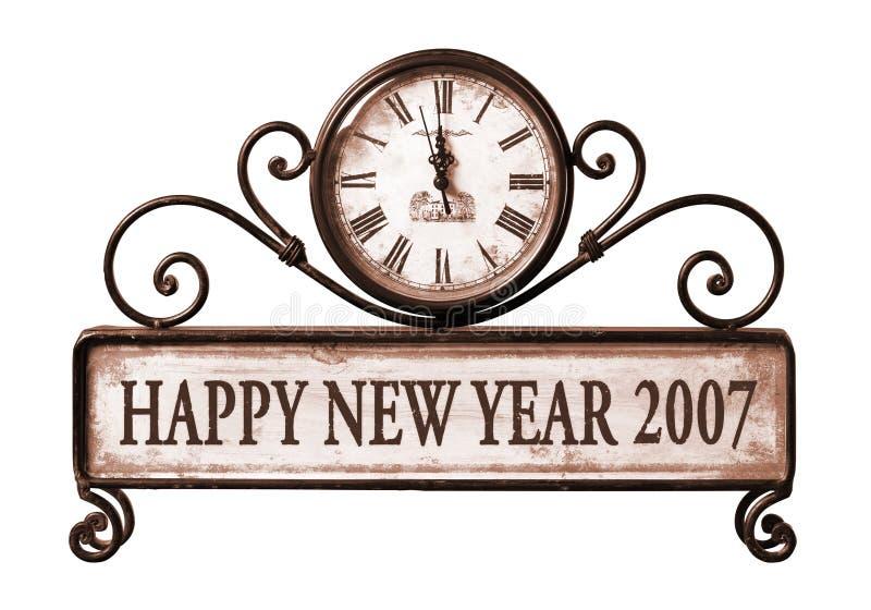 2007 glückliches neues Jahr mit Pfad auf Borduhr lizenzfreies stockbild