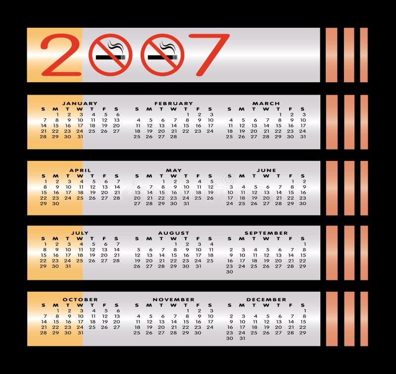 2007 kalendarz znak nie palić ilustracji