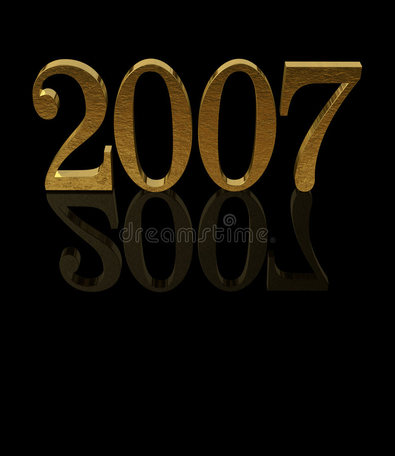 2007 złota odbić 3 d ilustracji