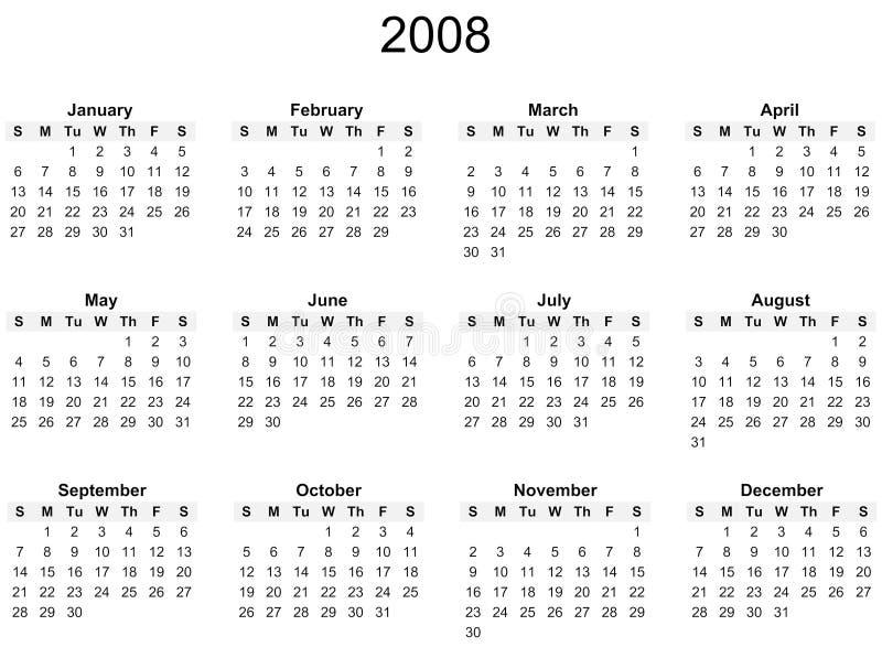 2008个日历年度 库存例证
