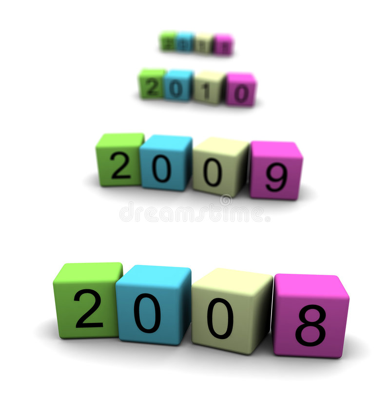 2008 - 2009 - 2010 - 2011 royalty-vrije illustratie