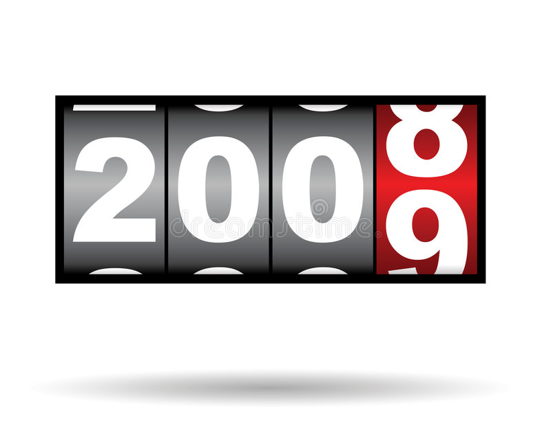 2008 2009 time. Clock timer for 2008 2009 time, with shadow vector illustration