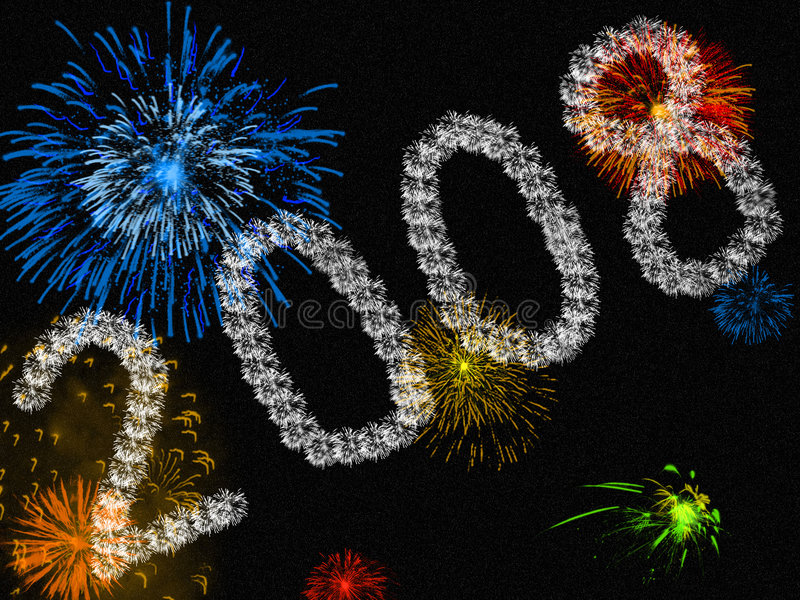 2008. A background of colourful fireworks with 2008 made up of smaller fireworks in the foreground vector illustration