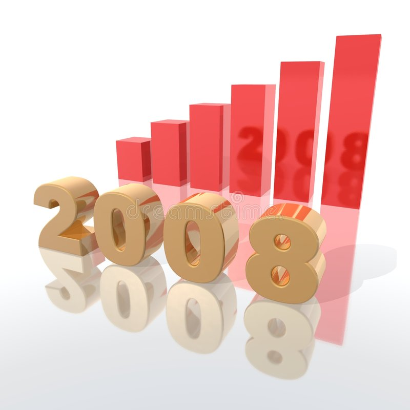 2008. A 3d rendering to illustrate the new year 2008 stock illustration