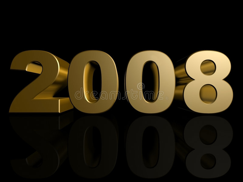 2008. 3d rendered illustration of a golden 2008 royalty free illustration