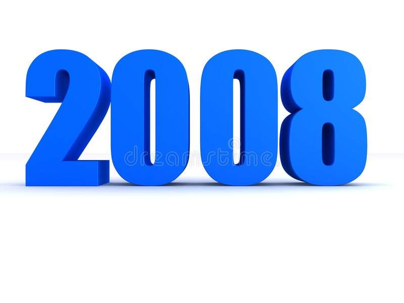 2008. 3d rendered illustration of a big blue 2008 royalty free illustration