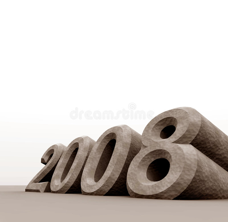 2008. New year,3D digital art stock illustration