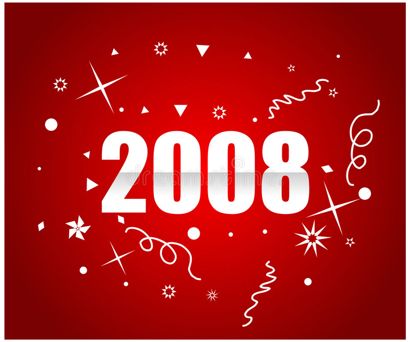 2008. New year ,red background royalty free illustration