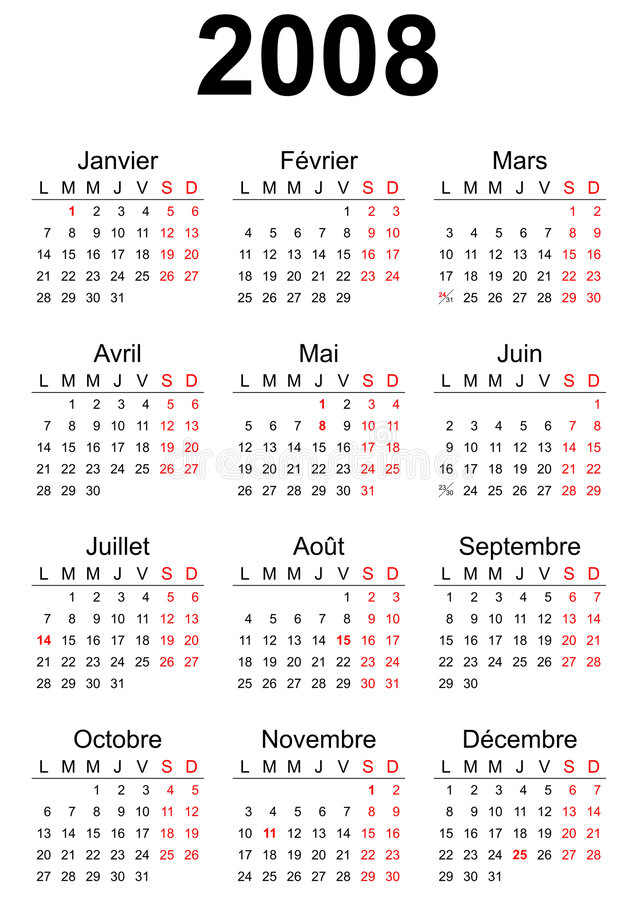 2008 calendar. 2008 French generic calendar A3, easy cropping for the busy designers who want to create their own designs, agendas, datebooks vector illustration