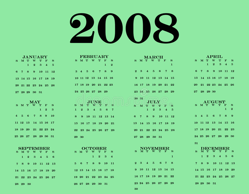 2008 Calendar. With a pretty green bottom vector illustration