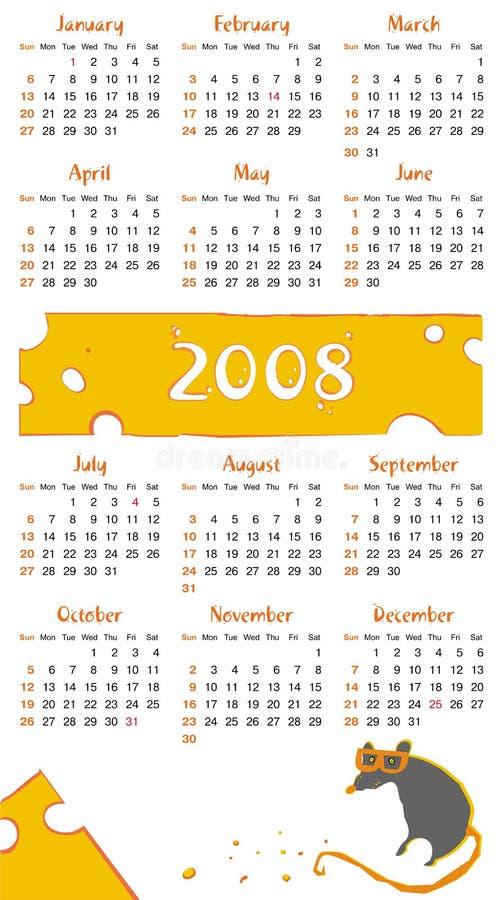 Free 2008 Cheese Rat Calendar Royalty Free Stock Image - 3576886