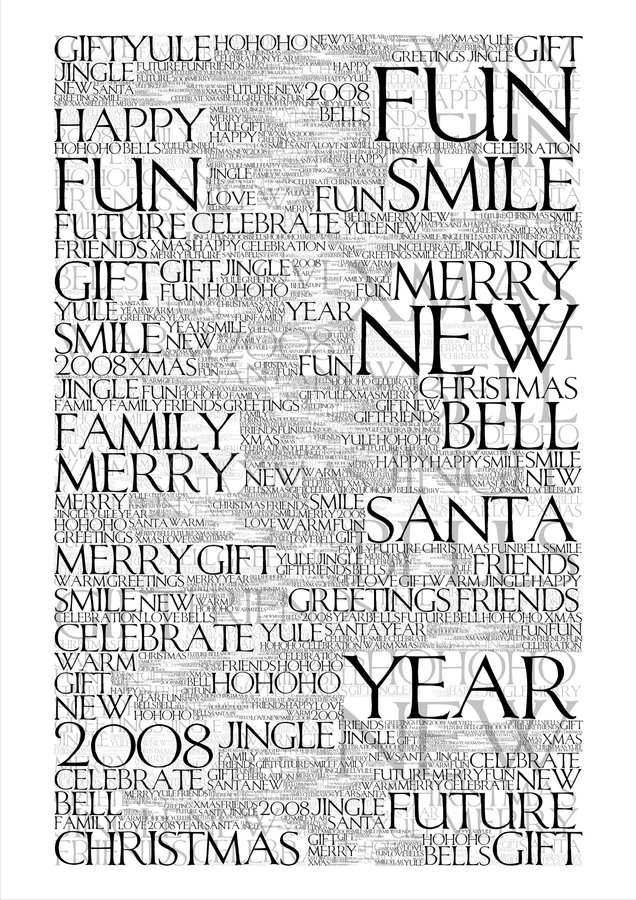 2008 Chiristmas Background. Typographic christmas background. 2008 new year message stock illustration