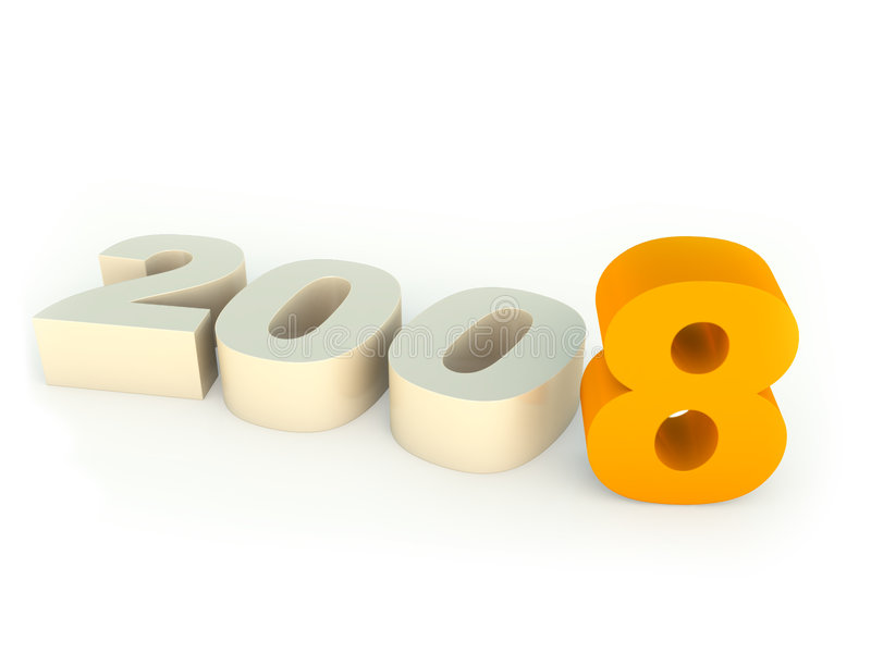2008 digits. Over white background royalty free illustration