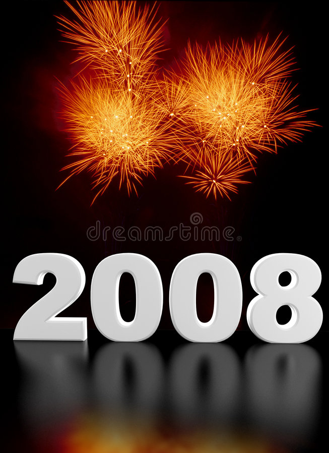 2008 firework. Hi res image of 2008 and fireworks royalty free illustration