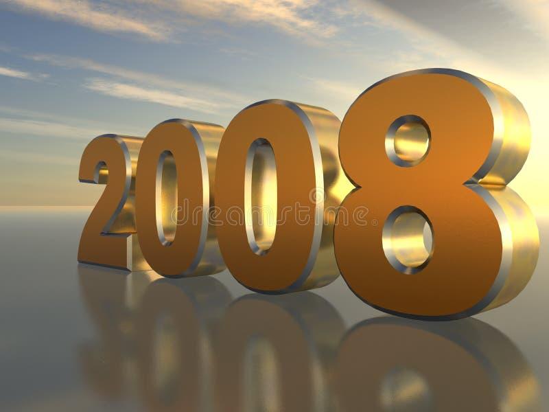 2008_gold_3D illustrazione di stock