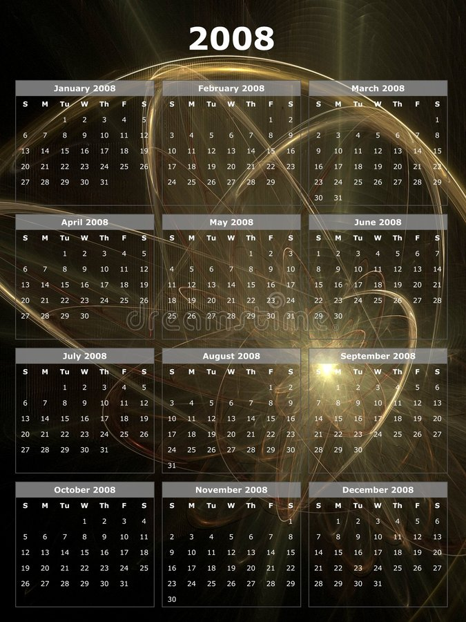 2008-Jahr-Kalender stock abbildung