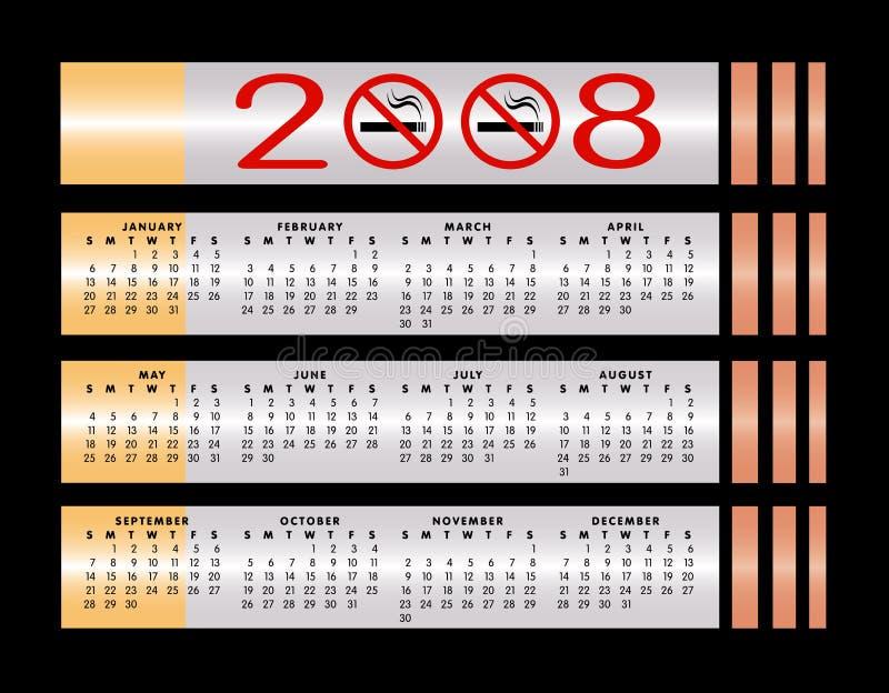 2008 kalendarz znak nie palić ilustracji