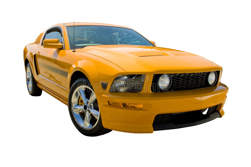 2008 Mustang California Special. 2008 Ford Mustang CS, orange with black racing stripes. Chrome wheels, side louver and fog lamps. California Special edition royalty free stock photo