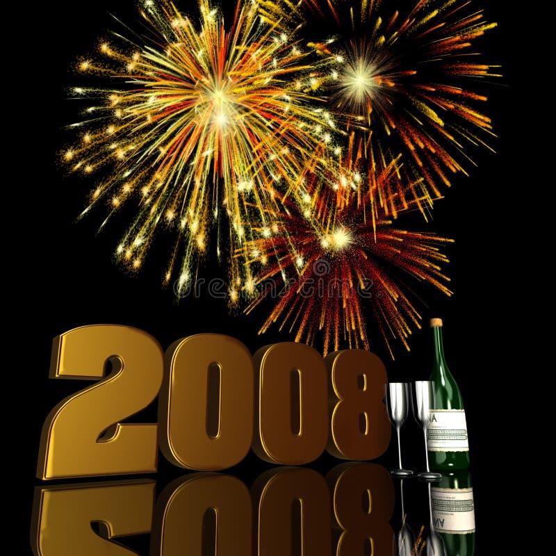 2008 neues Jahr-Feuerwerke stock abbildung
