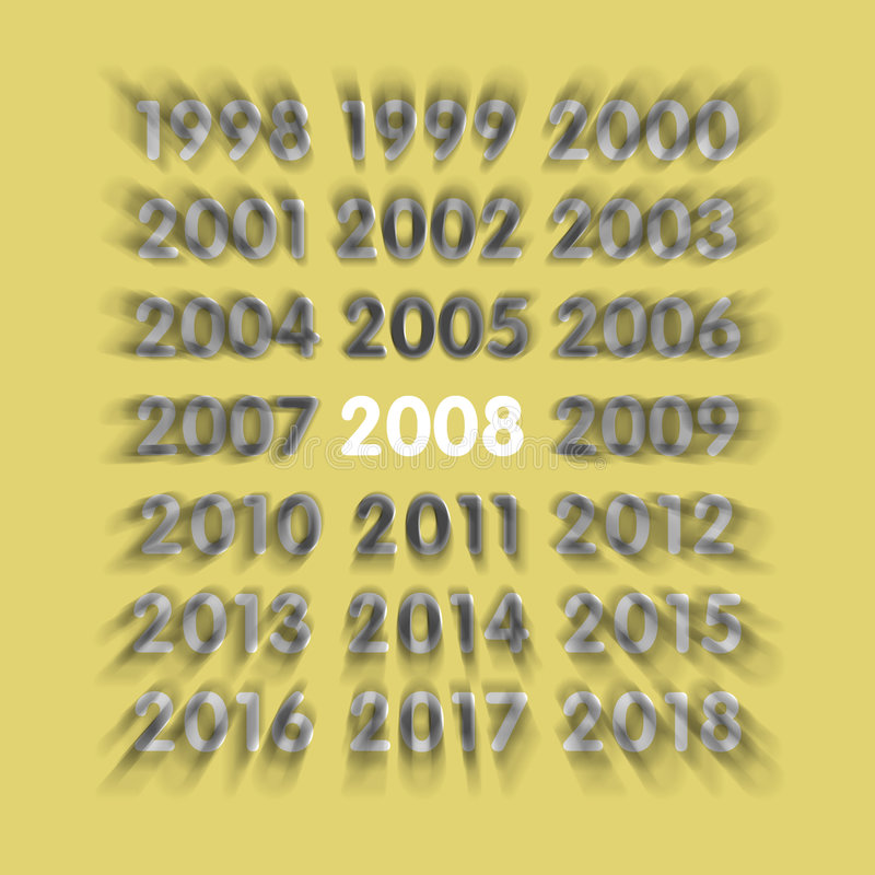 2008 new year. An image of the new years 1998 1999 2000 2001 2002 2003 2004 2005 2006 2007 2008 2009 up to 2018 stock illustration