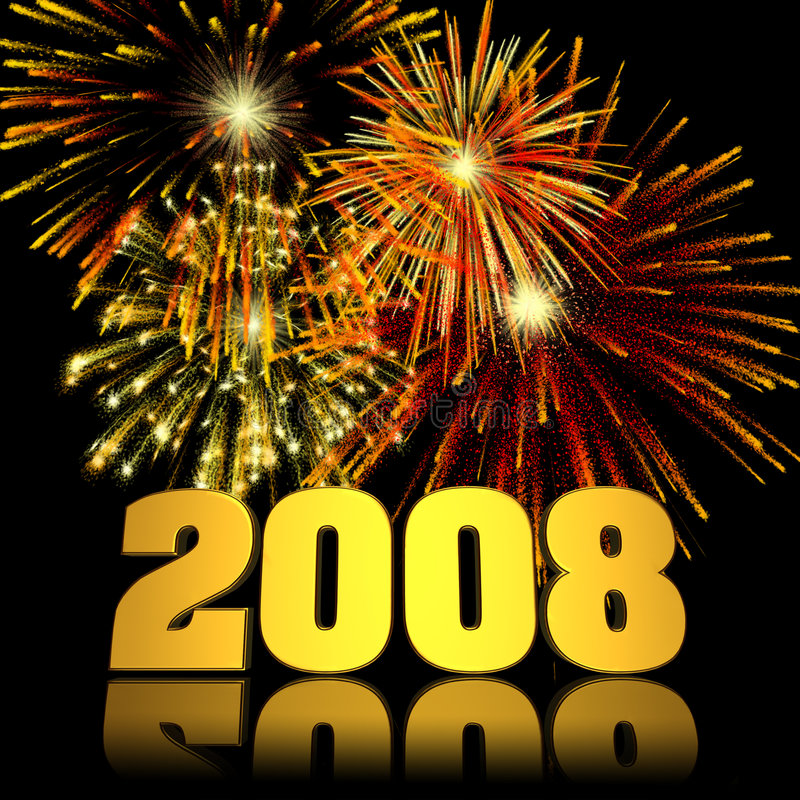 2008 New Year Fireworks. Fireworks displayed behind a 3D 2008 with reflections royalty free illustration