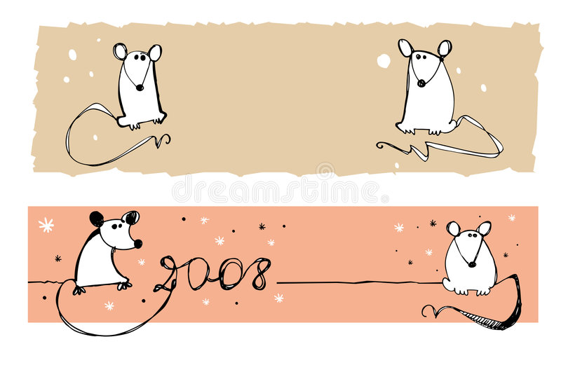2008 rats - banners. 2008 designes with rats- symbols of new year. Can be used as banners. Space reserved for your logo and text vector illustration