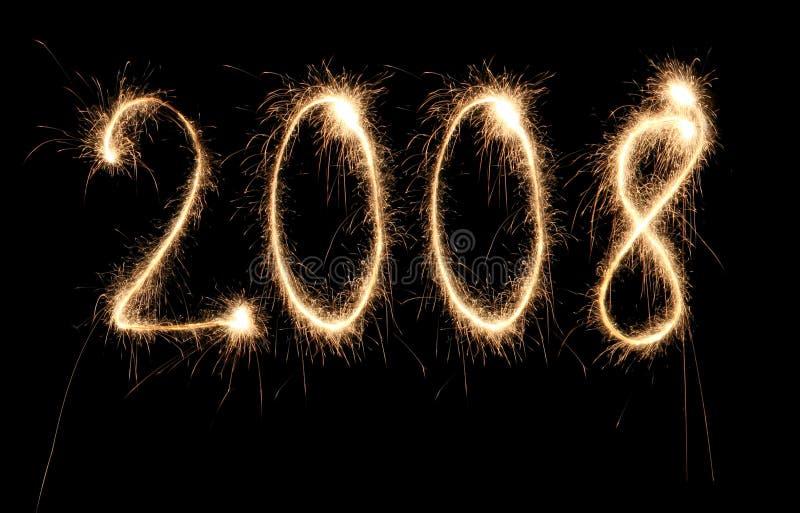 2008 sparkler στοκ εικόνα με δικαίωμα ελεύθερης χρήσης