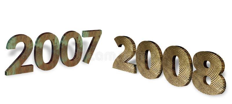 2008 y 2007 años en metal ilustración del vector