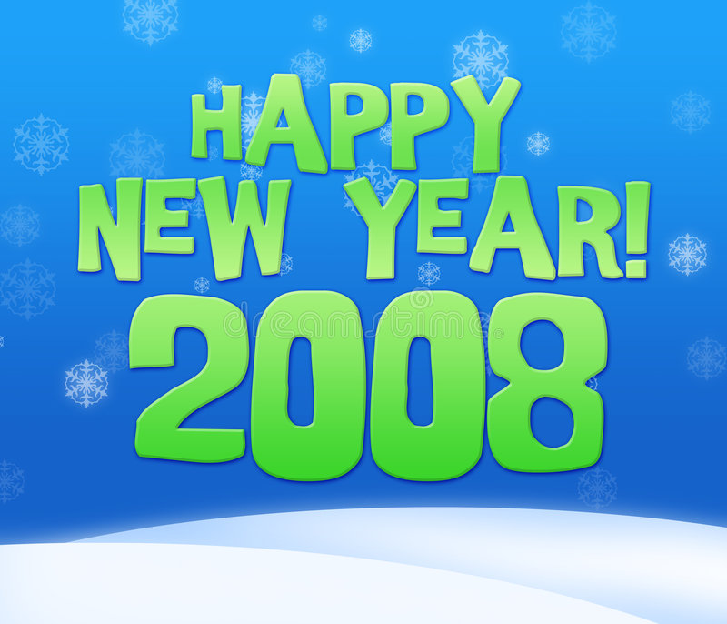 2008 year. Greeting card with snow fall vector illustration