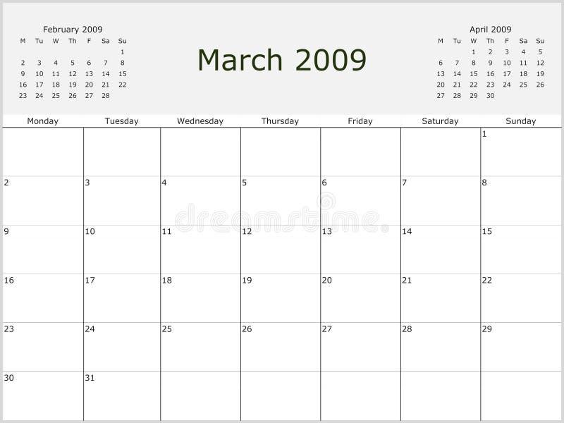 2009个日历月度年 皇族释放例证