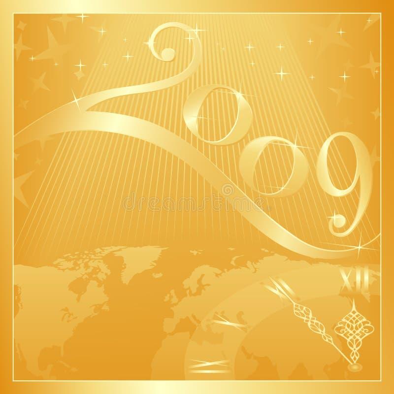 2009年圣诞节愉快的快活的新年度 向量例证