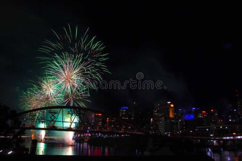 2009年布里斯班节日riverfire 免版税库存照片