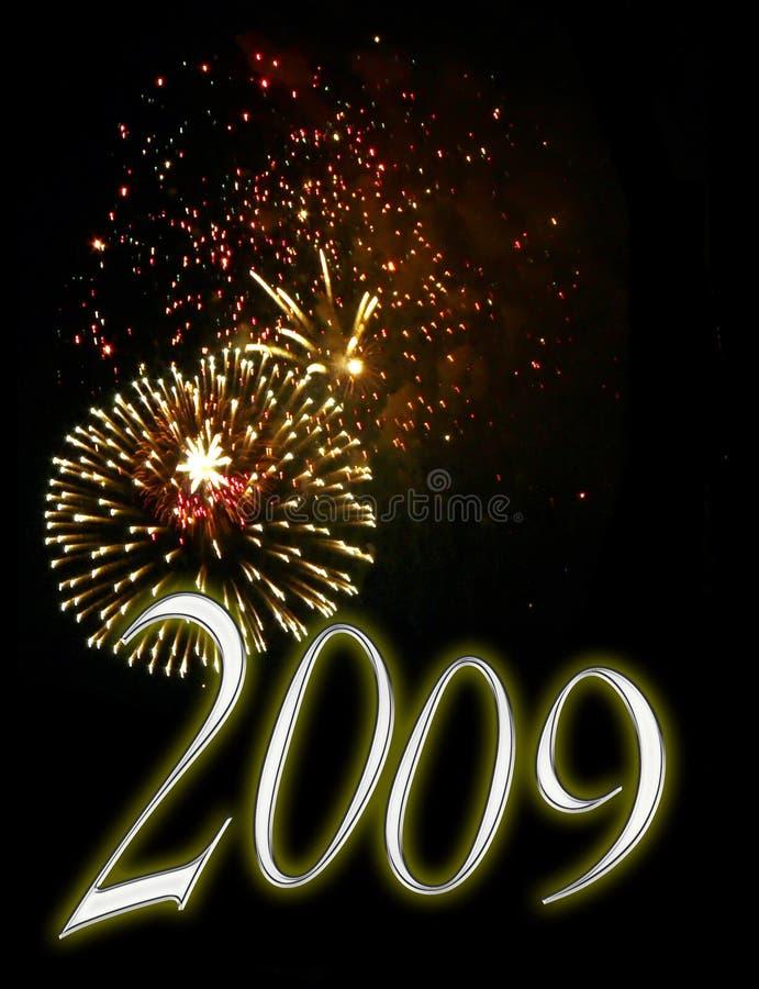 2009年背景前夕烟花新年度 免版税库存照片