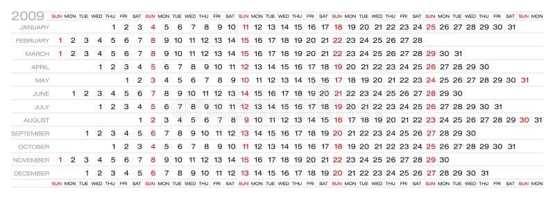2009日历 向量例证