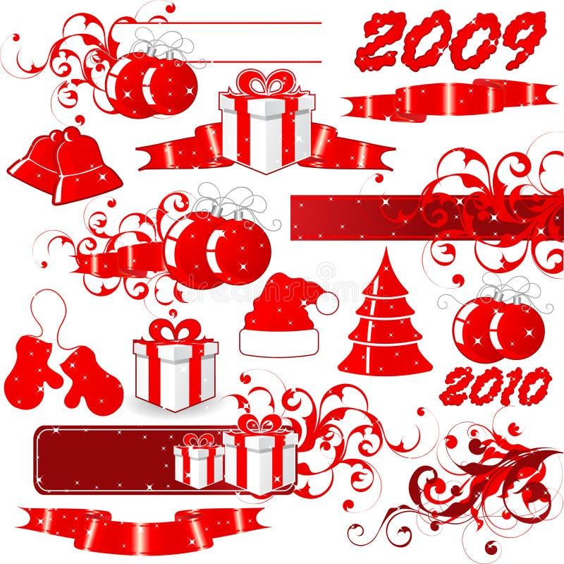 2009 ícones vermelhos do feriado ilustração do vetor