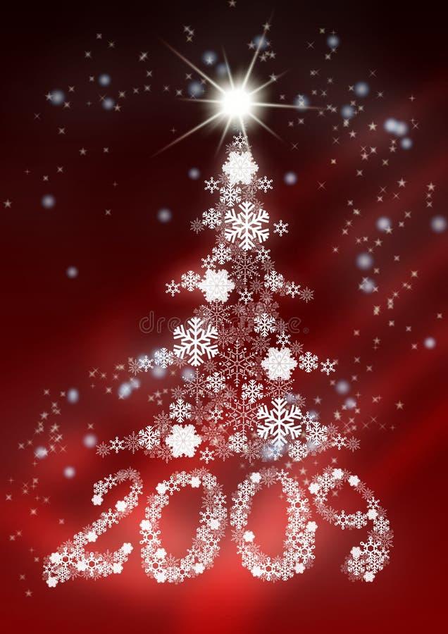 2009 γίνοντα snowflakes αριθμών γούνα δέντρο απεικόνιση αποθεμάτων